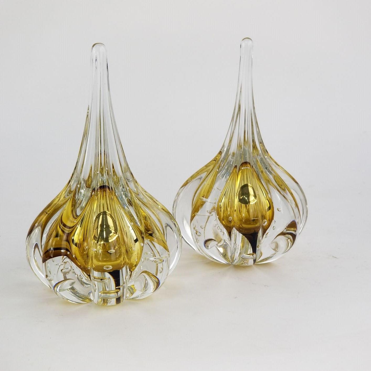 Kit Gotas de Murano Âmbar Pequena Cristais Labone (2 Peças)