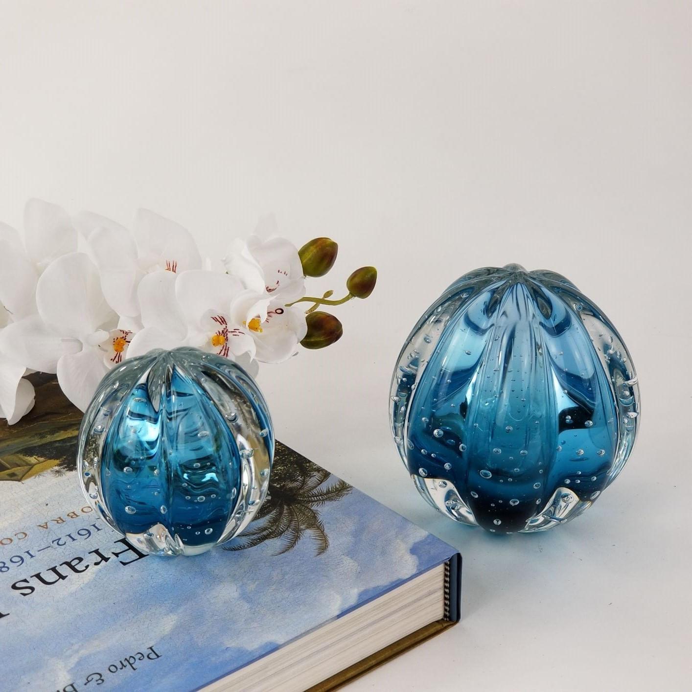 Kit Pesos de Cristal Murano Labone Azul Aquamarine (2 Peças)