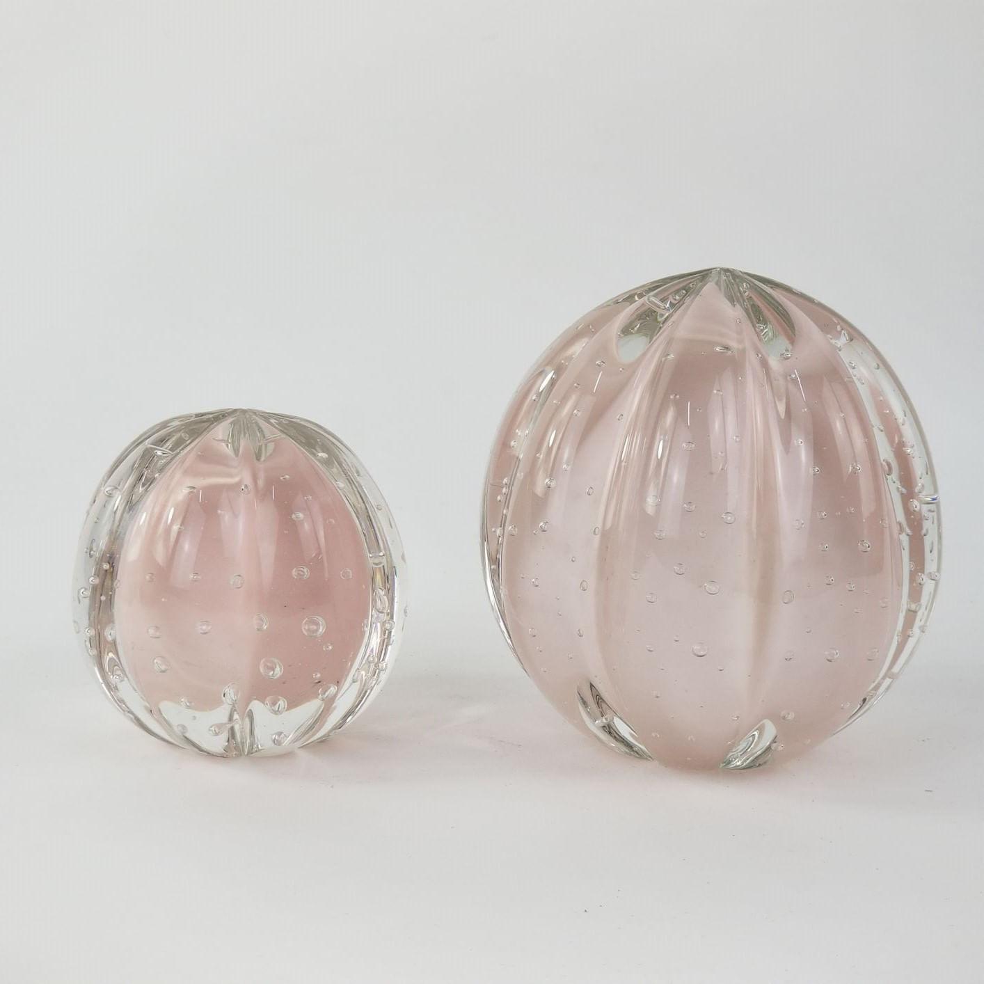 Kit Pesos de Cristal Murano Labone Cor Jade Rosa (2 Peças)