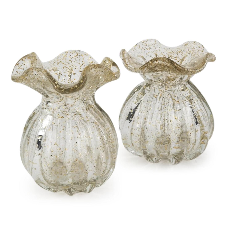 Kit Trouxinhas de Murano - Vasinhos de Cristal com Pó Dourado (2 Peças)