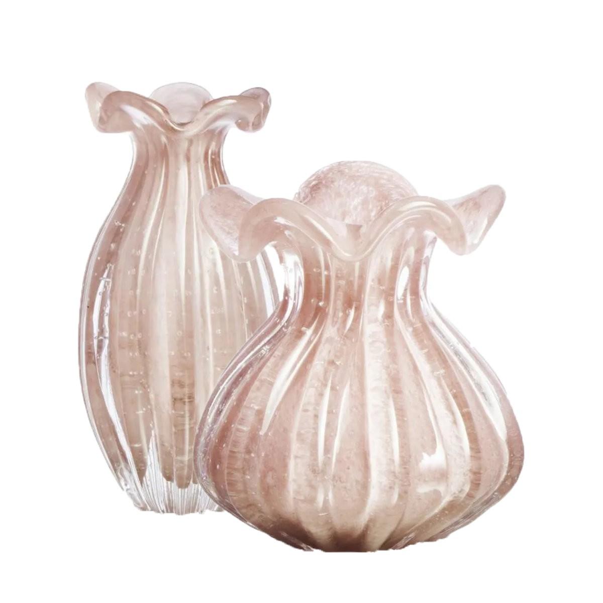 Kit Vasos de Murano Trouxinha São Marcos - Cristal Rosa (2 Peças)