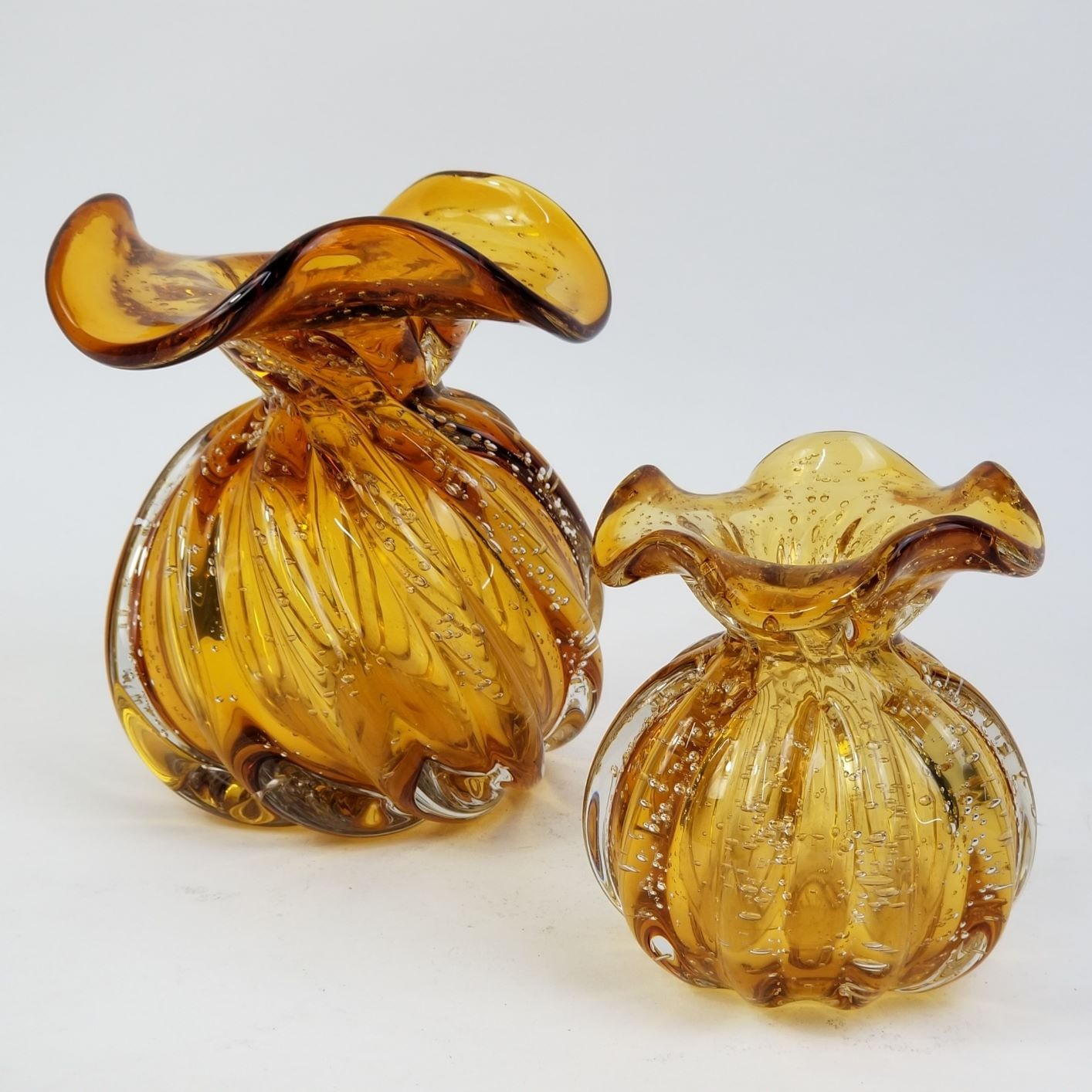 Kit Vasos de Murano - Trouxinhas Âmbar em Cristal (2 Peças)