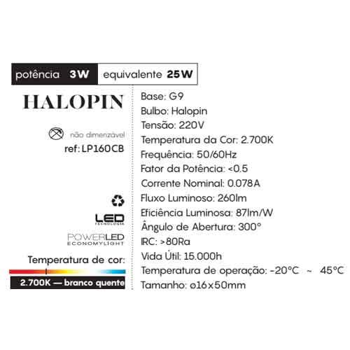 Lâmpada LED - Halopin 3W G9 - 220v