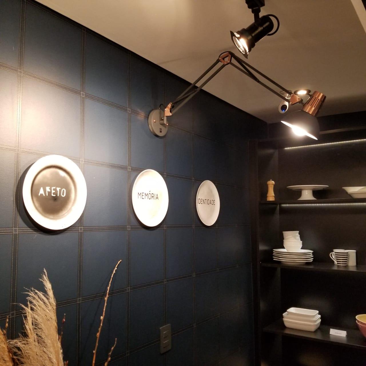 Luminária Arandela Articulada Metal Preto e Cobre - Newline AR862-PT