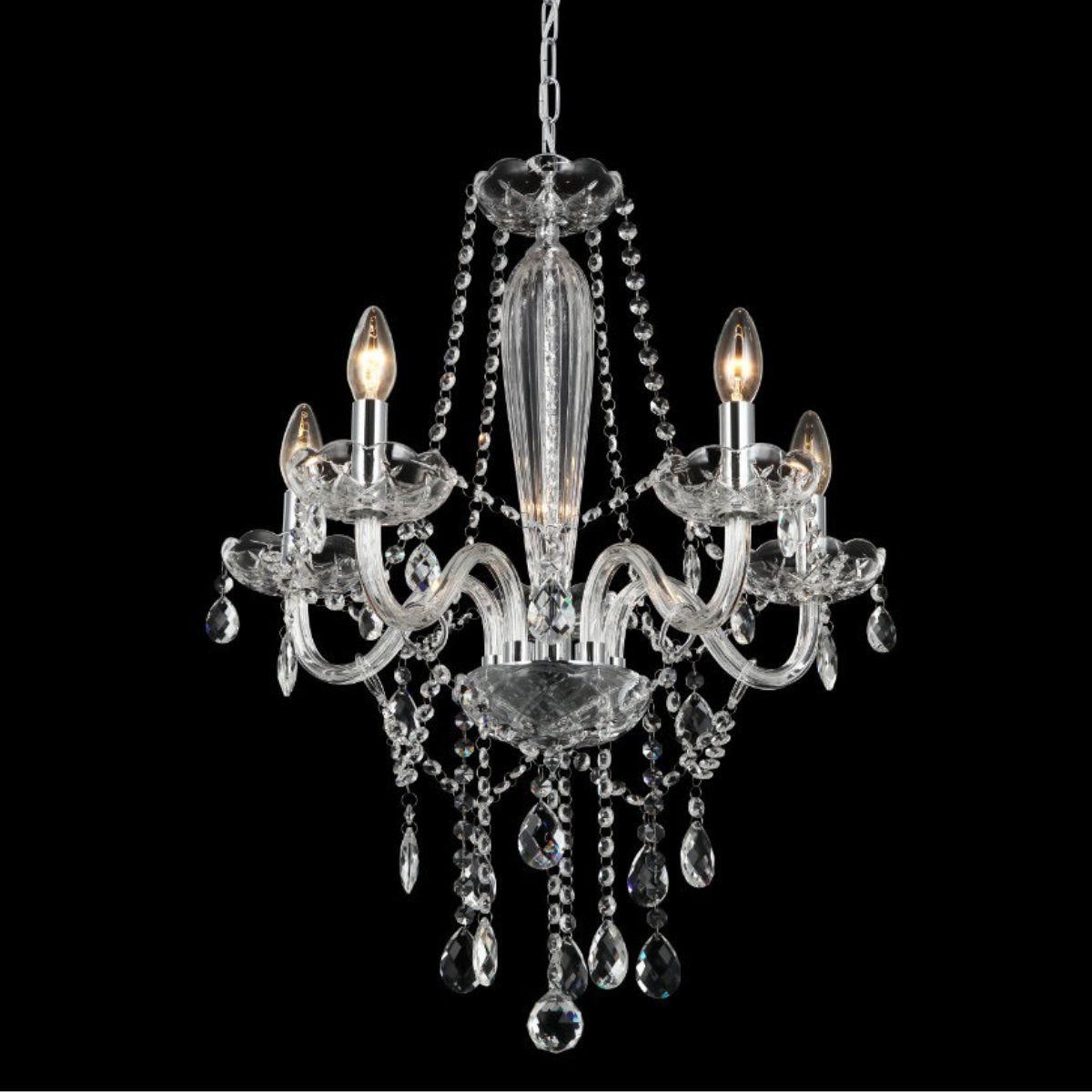 Lustre Candelabro de Cristal Maria Teresa - 5 Braços Transparente