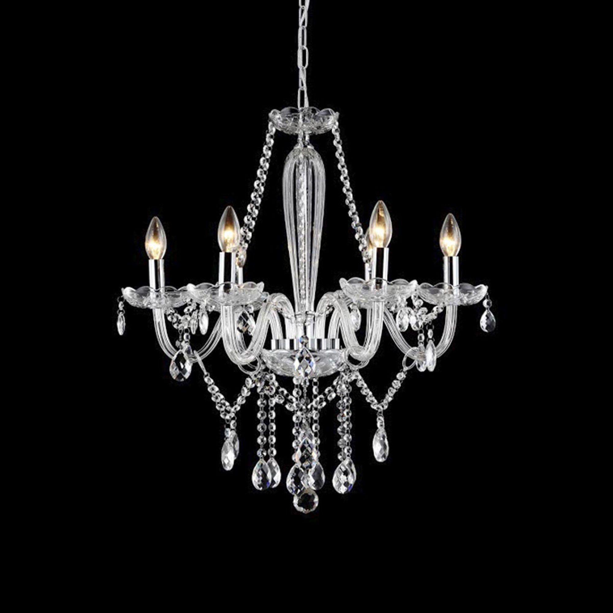 Lustre Candelabro de Cristal Maria Teresa - 6 Braços Transparente