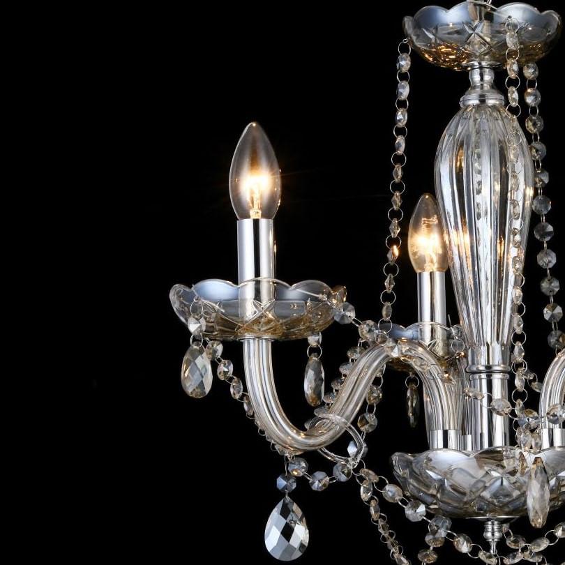 Lustre Candelabro de Cristal Maria Tereza - 3 Braços Âmbar