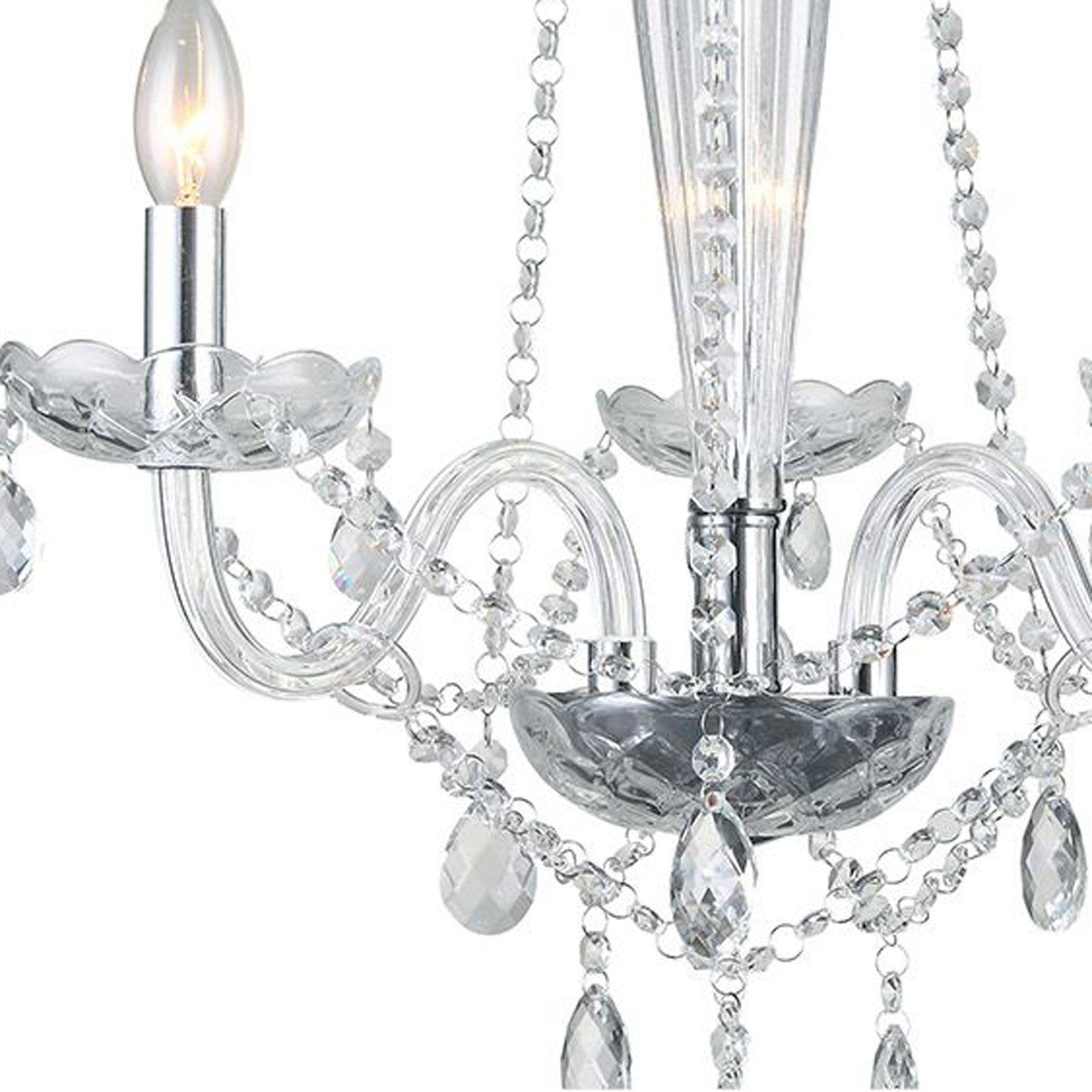 Lustre Candelabro de Cristal Maria Tereza - 3 Braços Transparente