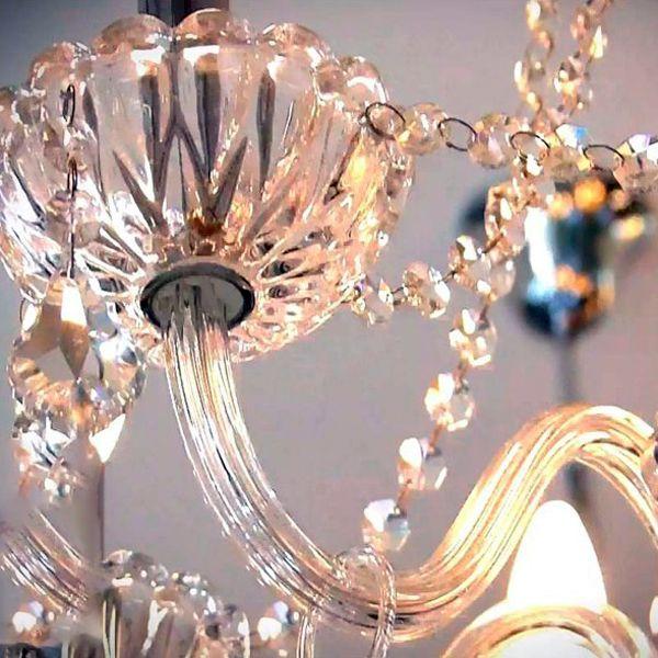 Lustre Candelabro de Cristal Maria Tereza - Bella Anjou 12 Braços Champagne