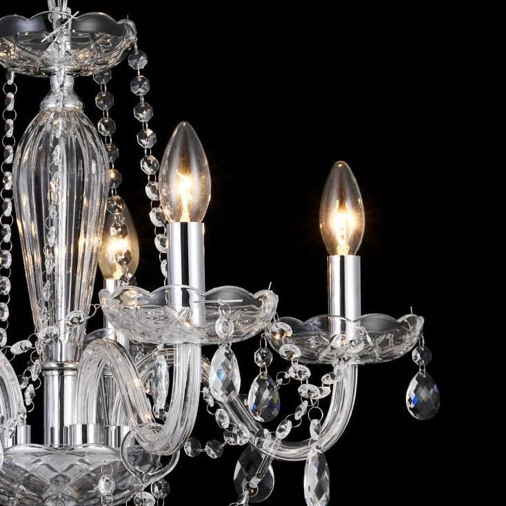 Lustre de Cristal 5 Braços - Maria Tereza Transparente