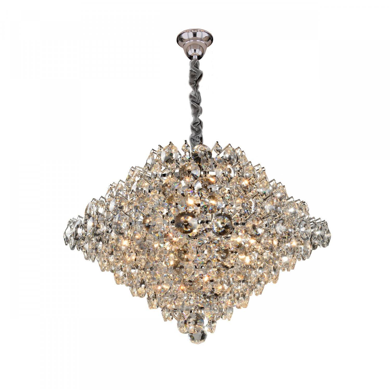 Lustre Moderno de Cristal Diamond - Transparente 12 Lâmpadas