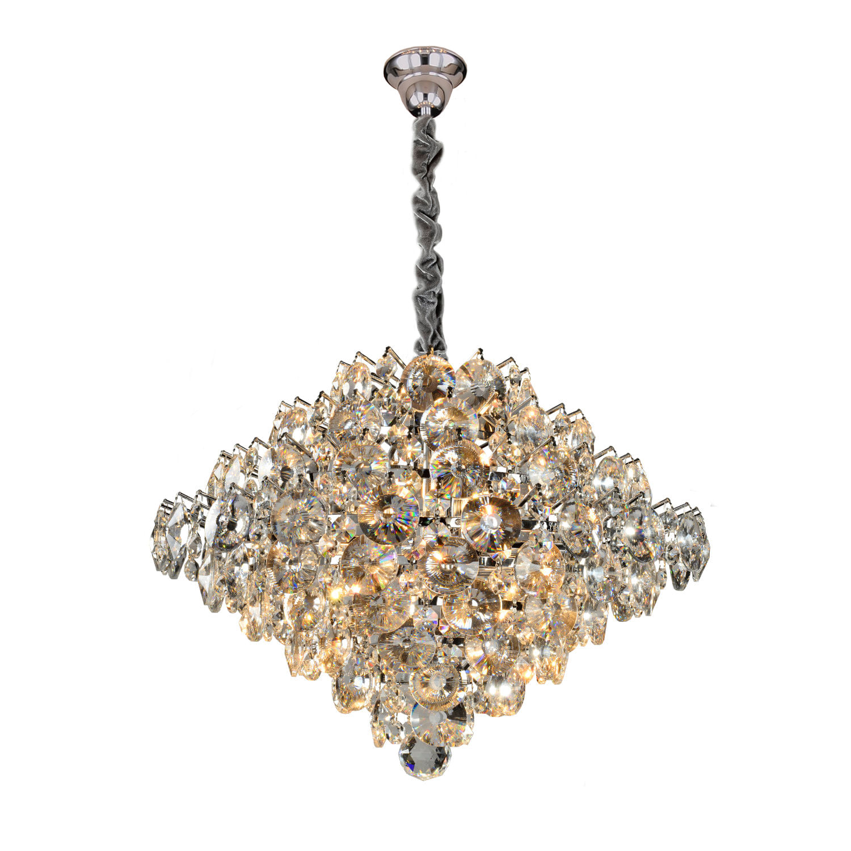 Lustre Moderno de Cristal Diamond - Transparente 9 Lâmpadas