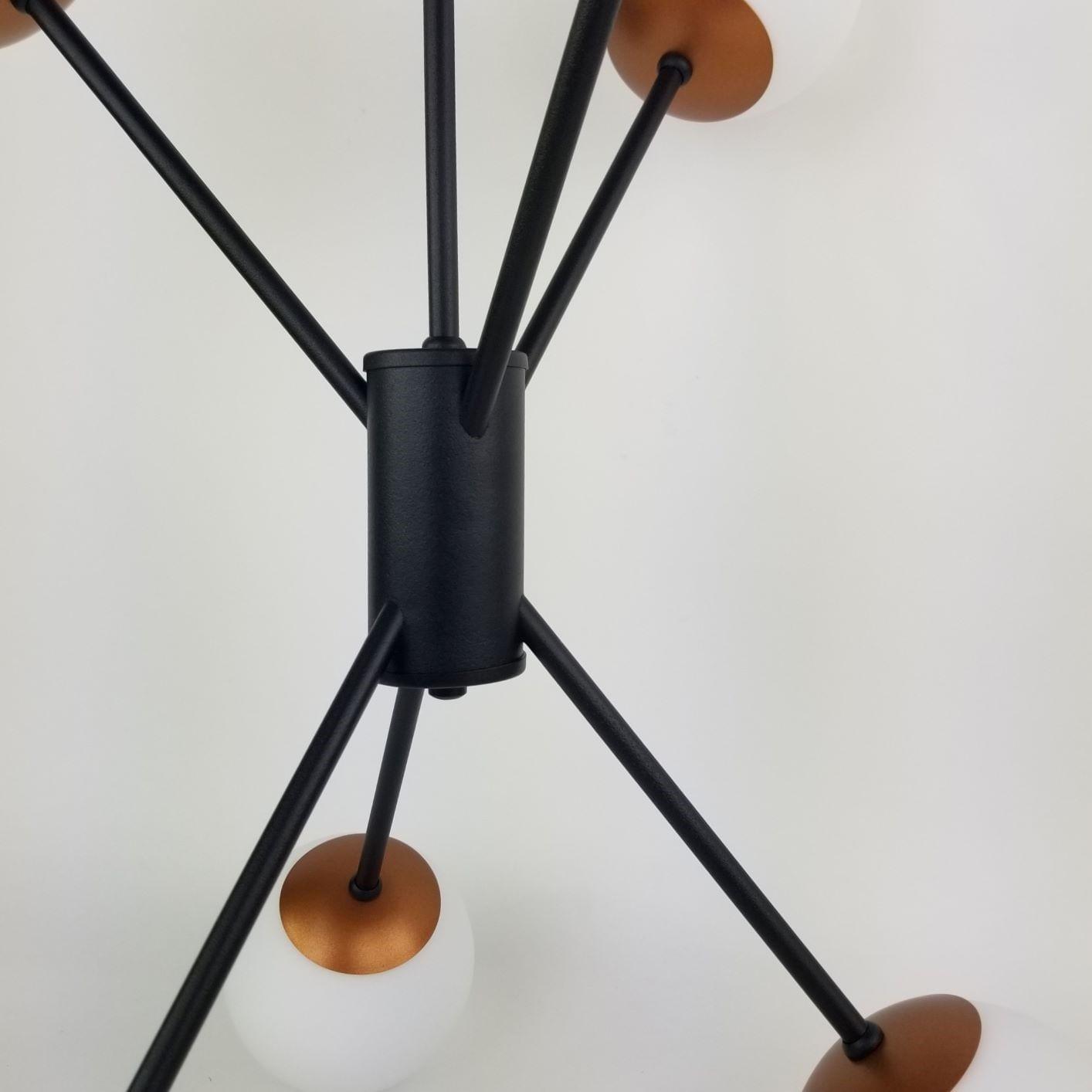 Lustre Moderno Space com Bolinhas de Vidro - Preto e Cobre
