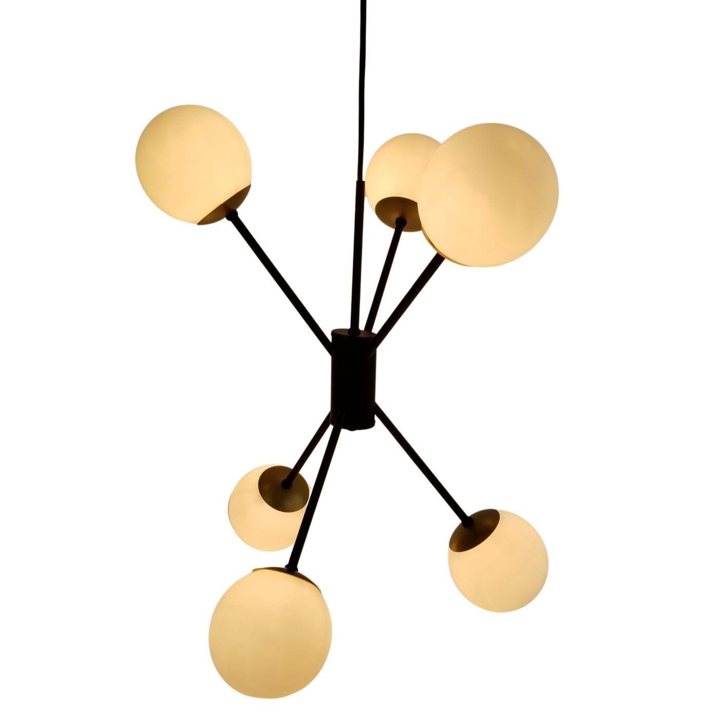Lustre Moderno Space com Bolinhas de Vidro - Preto e Dourado