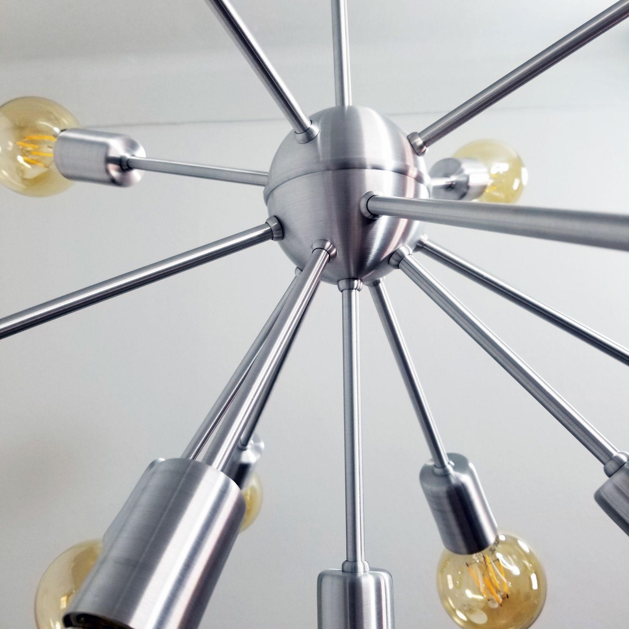 Lustre Moderno Sputnik Escovado - 13 Lâmpadas Não Inclusas