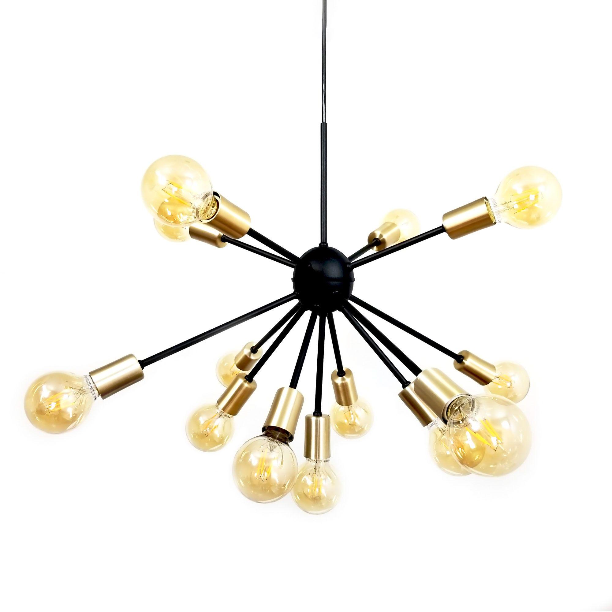 Lustre Moderno Sputnik Preto com Dourado - 13 Lâmpadas (Não Inclusas)