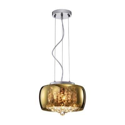 Lustre Pendente de Cristal e Cúpula de Vidro Dourado 28cm