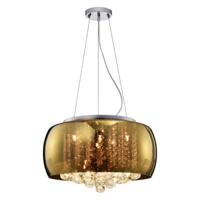 Lustre Pendente de Cristal e Cúpula de Vidro Dourado 50cm