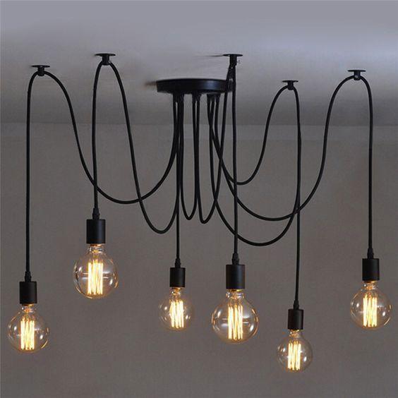 Lustre Pendente Moderno Aranha - Industrial Preto 6 Lâmpadas