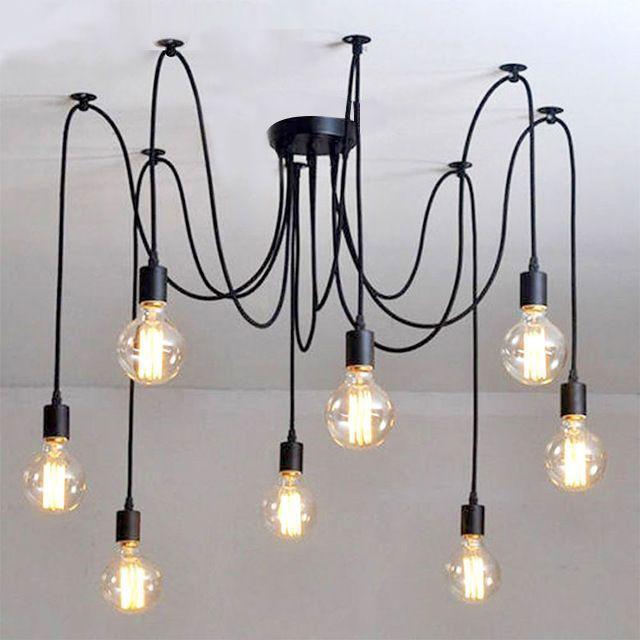 Lustre Pendente Moderno Aranha - Industrial Preto 8 Lâmpadas