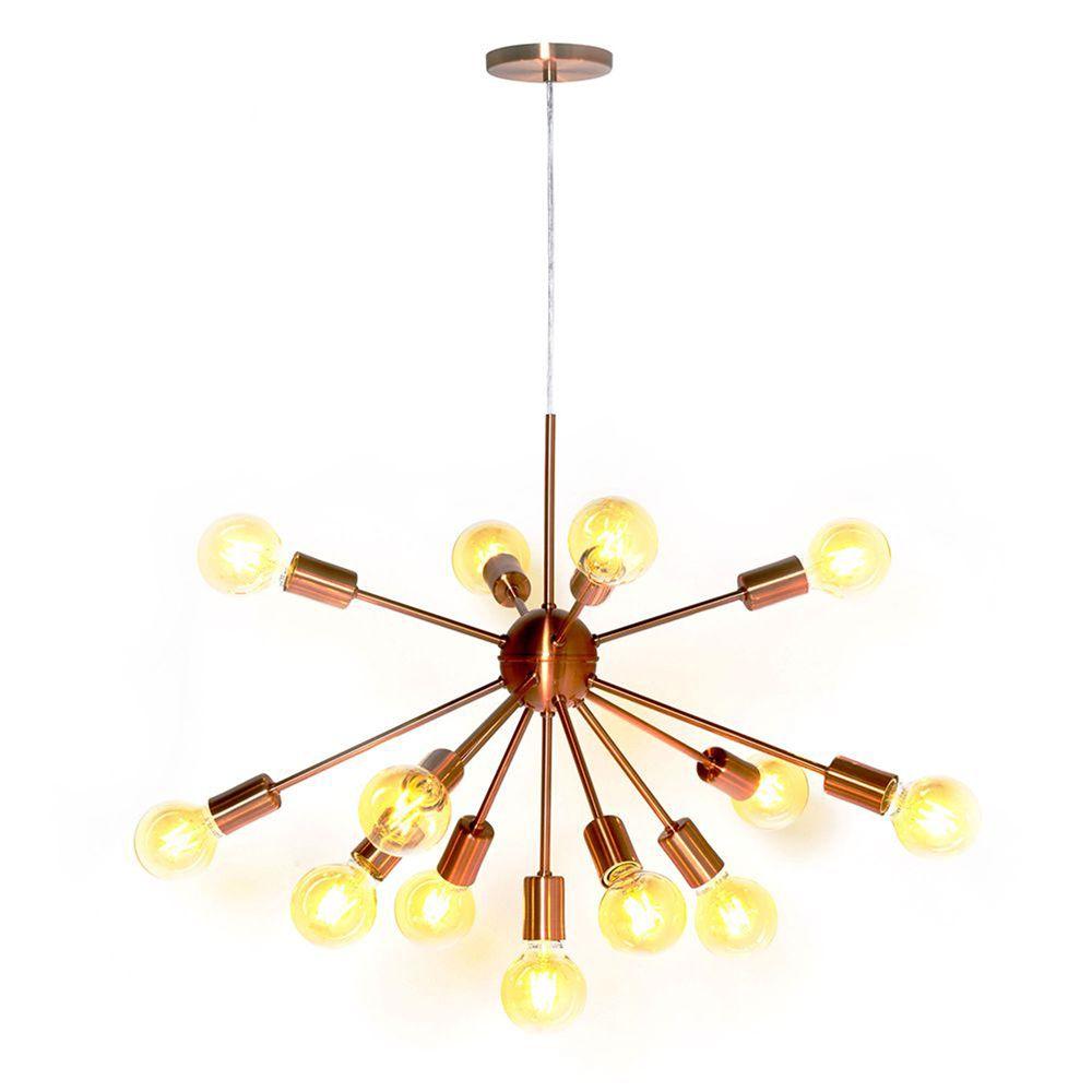Lustre Pendente Moderno Sputnik Cobre - 13 Lâmpadas (Não Inclusas)