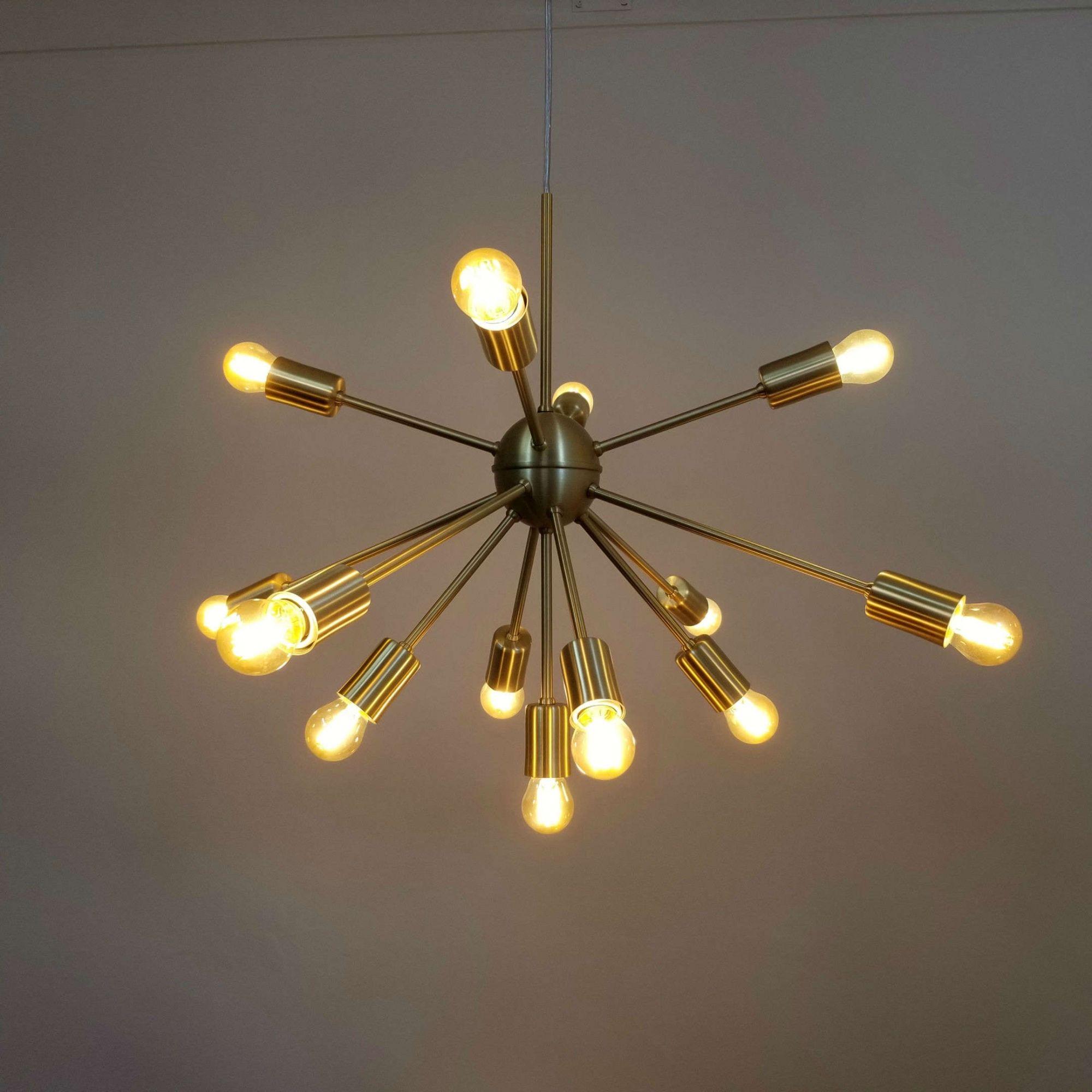 Lustre Pendente Moderno Sputnik Dourado - 13 Lâmpadas (Não Inclusas)
