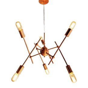 Lustre Pendente Moderno Sputnik Starburst Cobre - 6 Lâmpadas