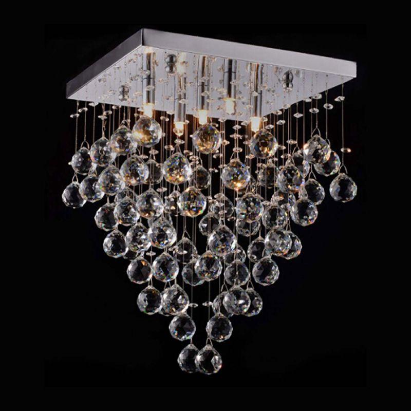 Lustre Plafon de Cristal - Bolas de Cristal Pendentes Transparente 46cm