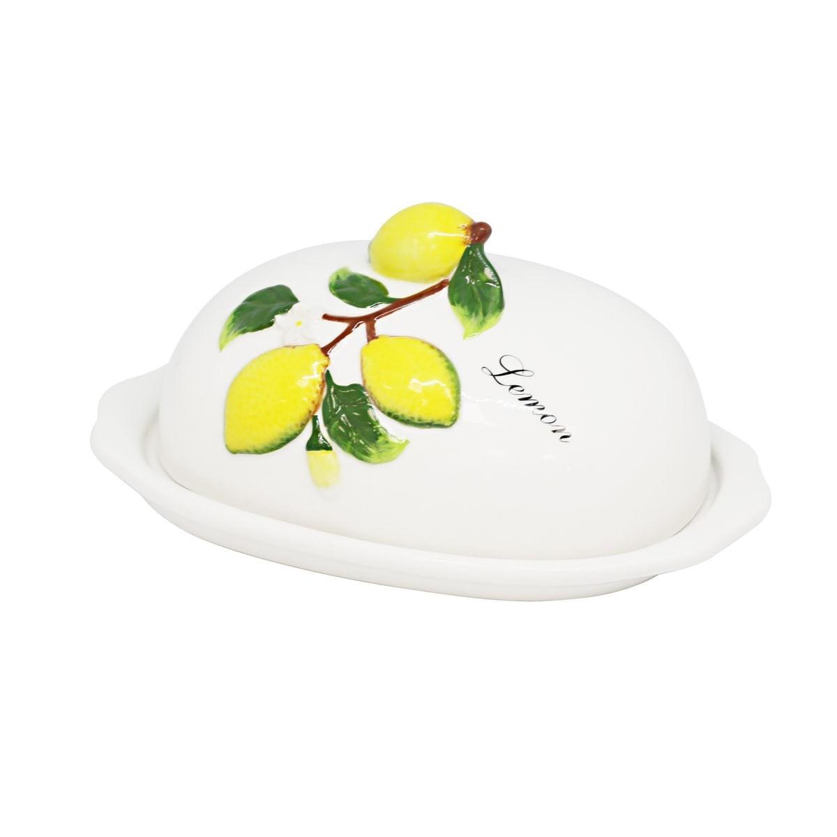 """Manteigueira De Cerâmica Pintada À Mão - Limões / """"Lemon"""""""