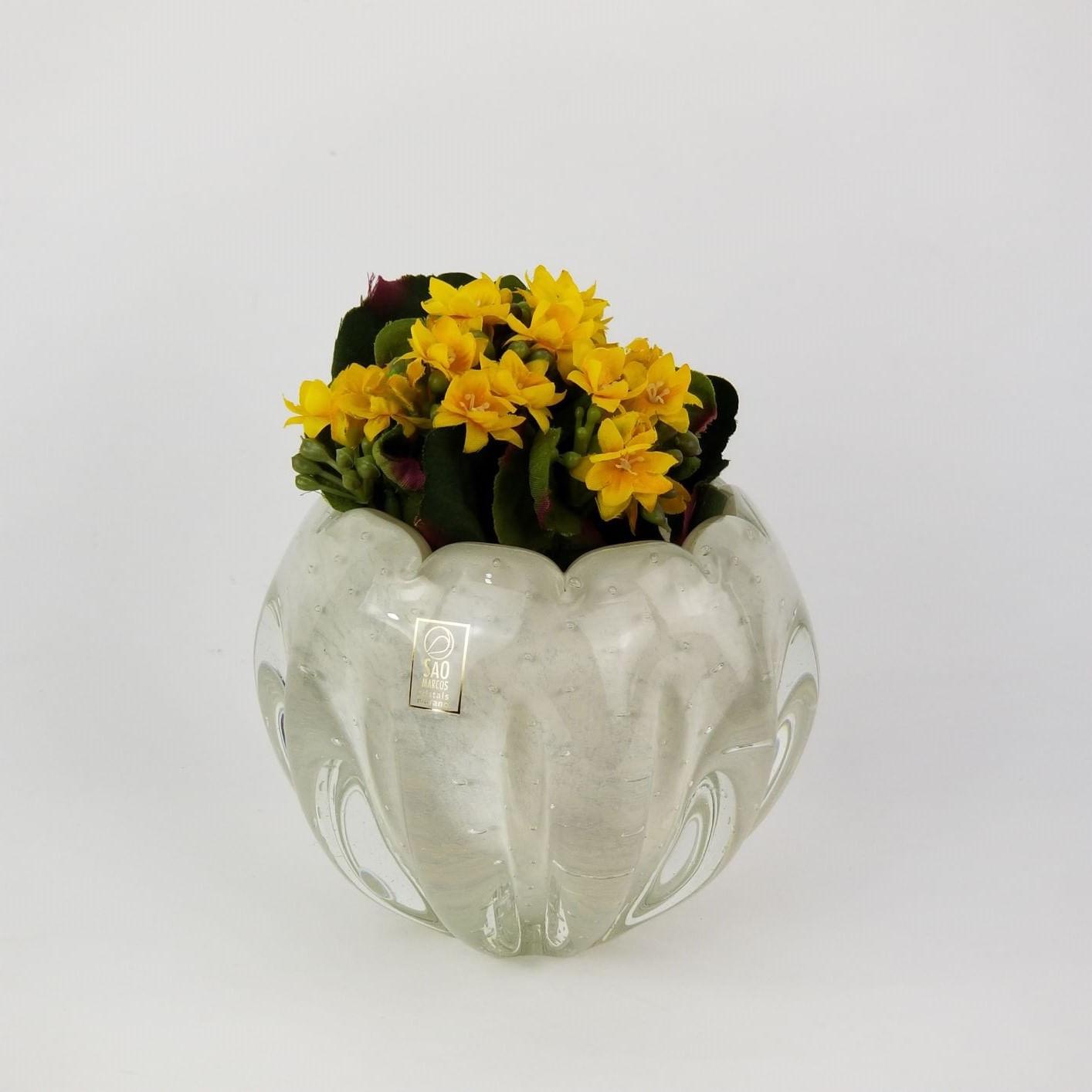 Mini Cachepot De Murano São Marcos - Cristal Branco Pérola