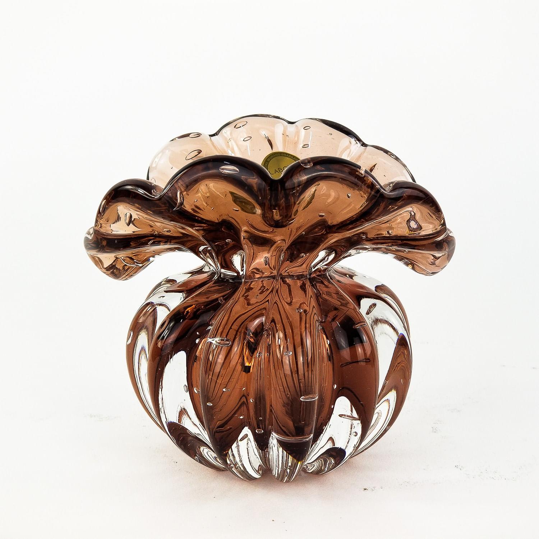 Mini Trouxinha de Murano - Vaso Decorativo de Cristal Rubi Dourado