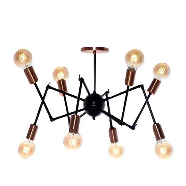 Pendente Articulado Spider - Preto com Cobre 65cm