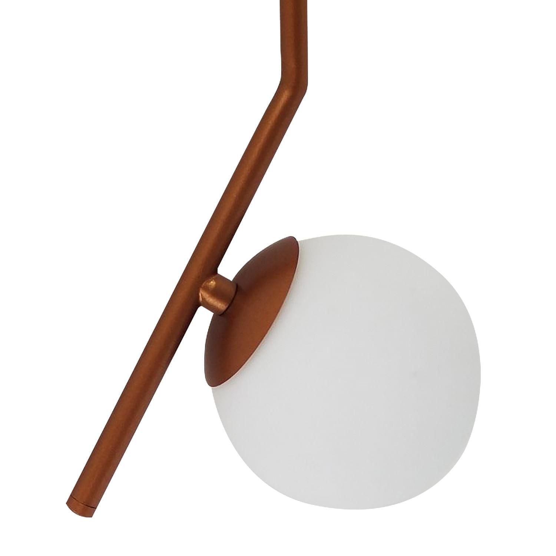 Pendente Cobre com Bolinha de Vidro Fosco - Esfera em Ângulo