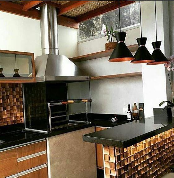 Pendente de Alumínio Preto Com Cobre - Bambola 23cm (Para Cozinha / Bancada)