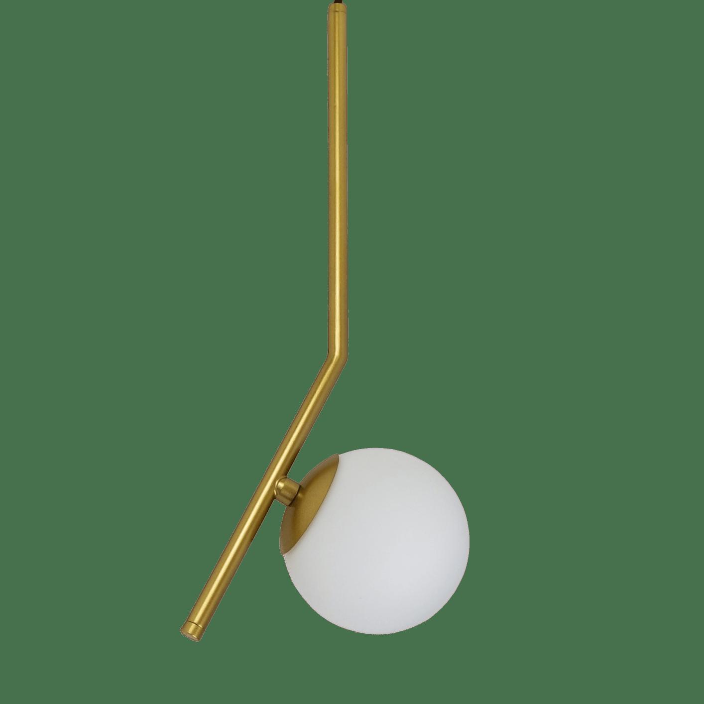 Pendente Dourado com Bolinha de Vidro Fosco - Esfera em Ângulo