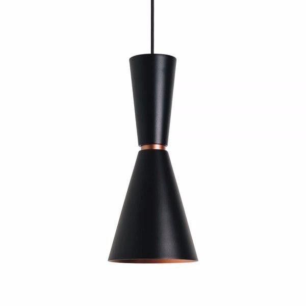 Pendente Em Alumínio Preto Com Cobre - Bambola 41cm (Para Cozinha / Bancada)