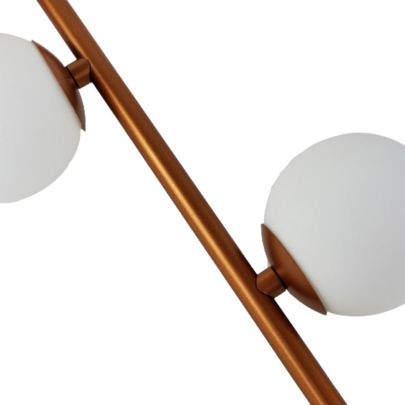 Pendente Galha 2 Bolinhas - Cobre Metalizado e Vidro Fosco