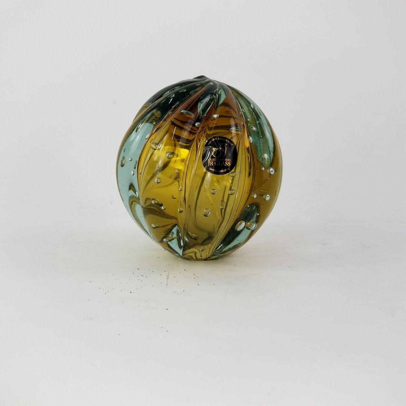 Peso de Papel de Vidro Tipo Murano - Bola Âmbar Grande