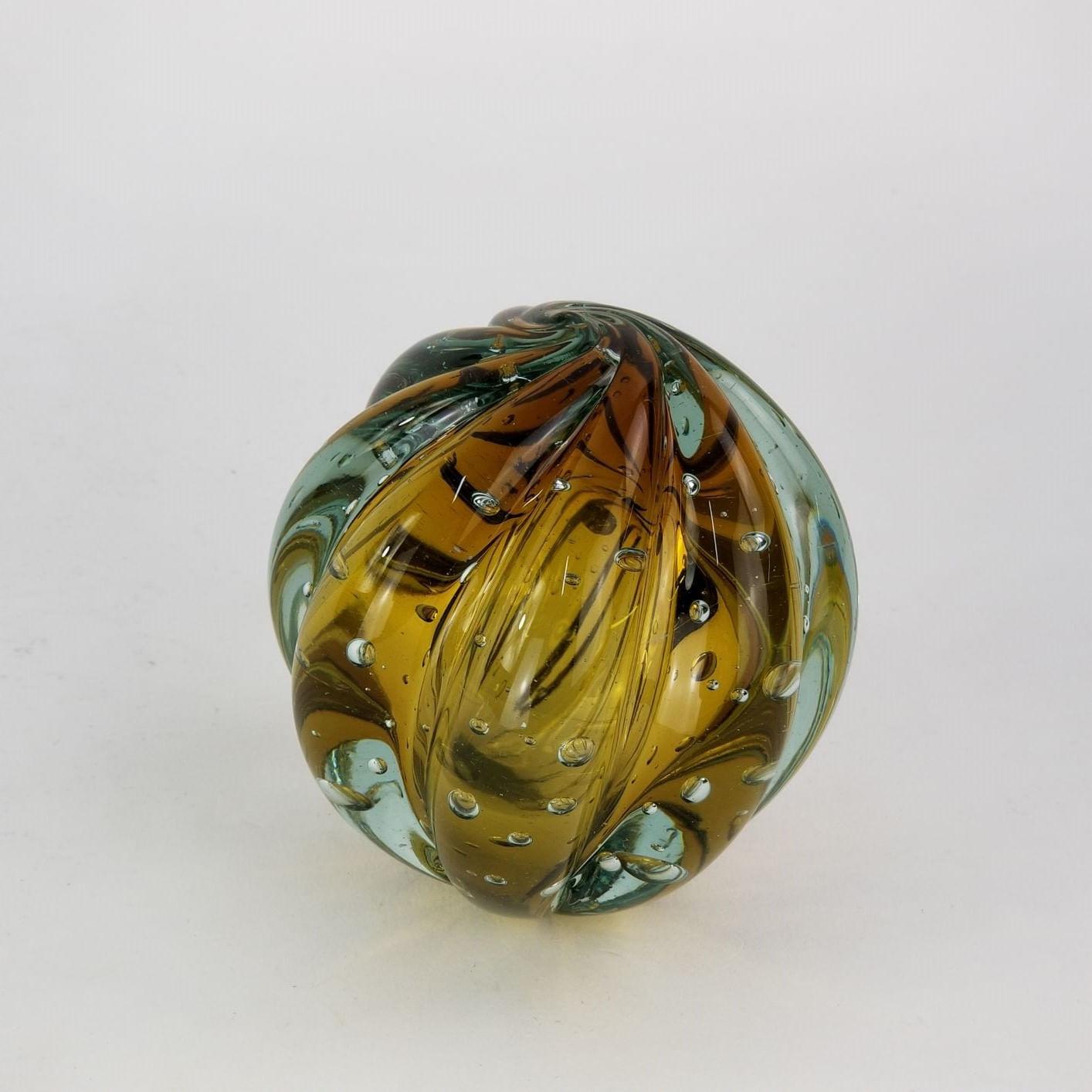 Peso de Papel de Vidro Tipo Murano - Bola Âmbar Pequena