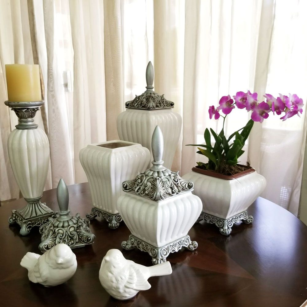 Pote Grande de Cerâmica Off-White - Canelado Com Tampa