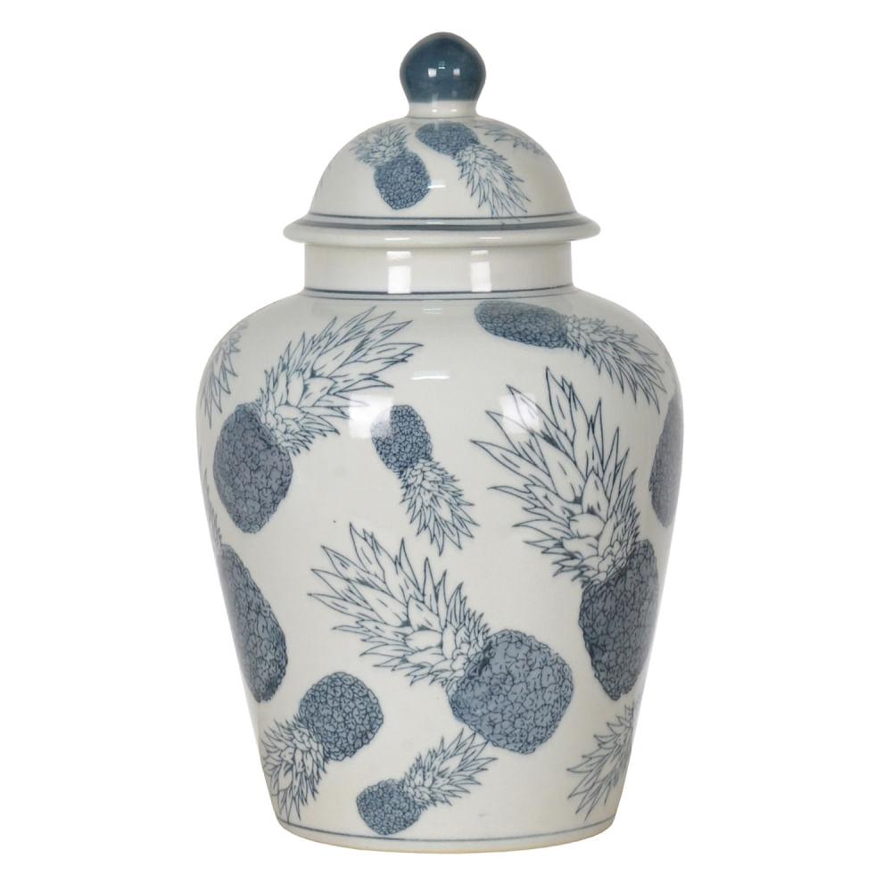 Potiche Balaústre de Porcelana com Tampa - Abacaxis Azuis