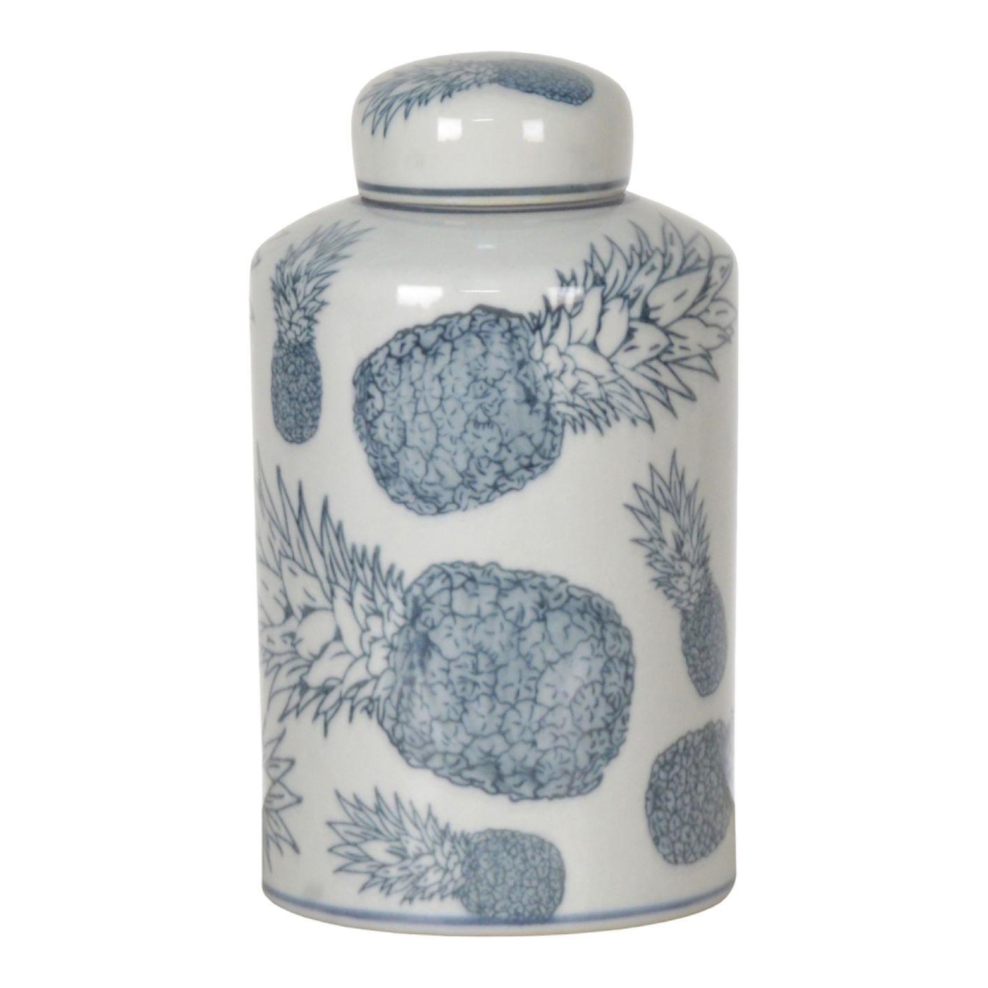 Potiche de Porcelana Decorativo Pote Azul e Branco Abacaxis