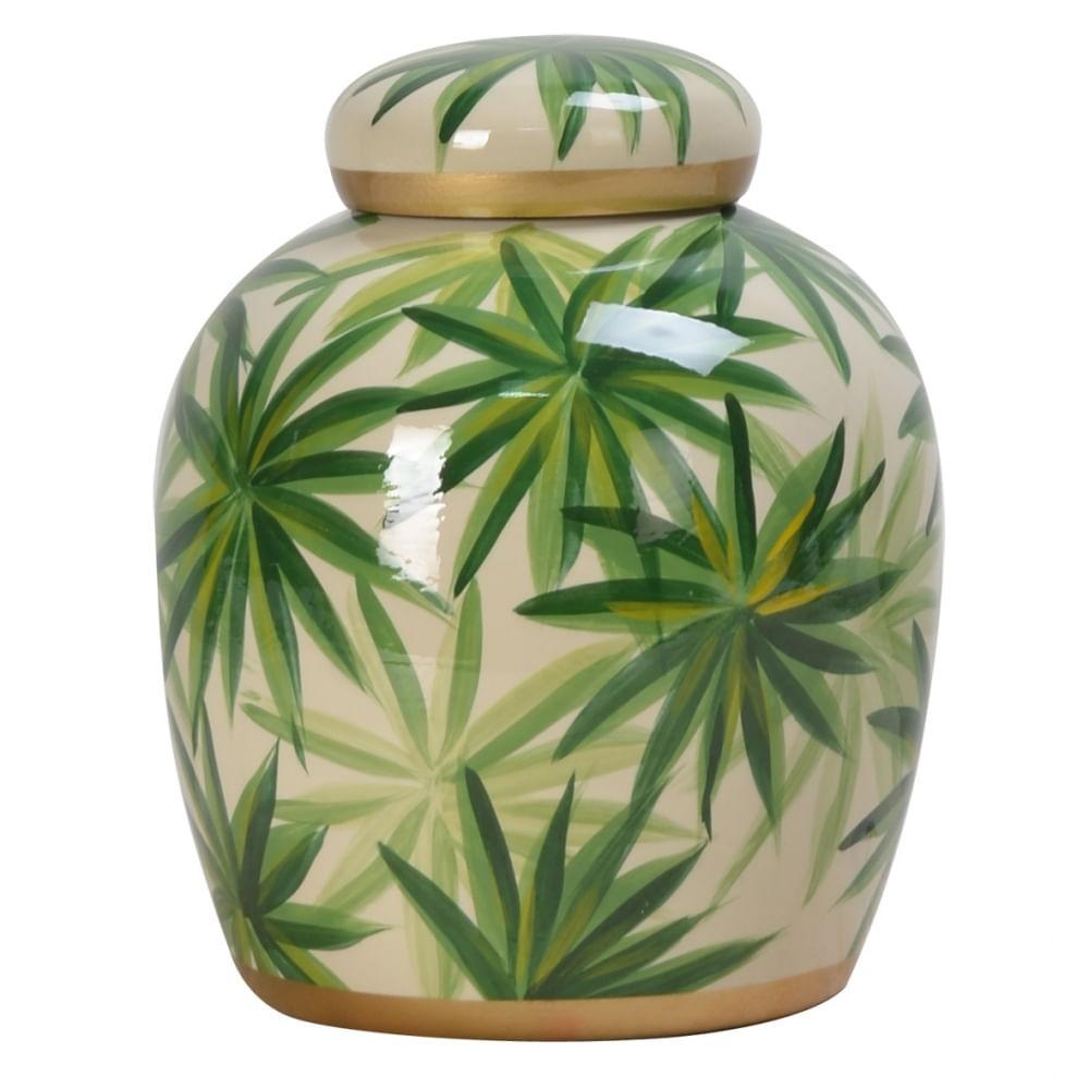 Potiche de Porcelana Decorativo Verde e Dourado - Folhas