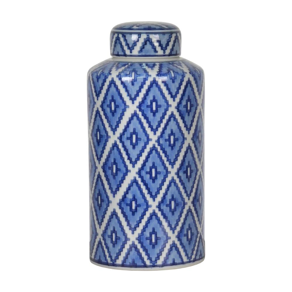 Potiche de Porcelana Grande - Pote Decorativo Branco e Azul