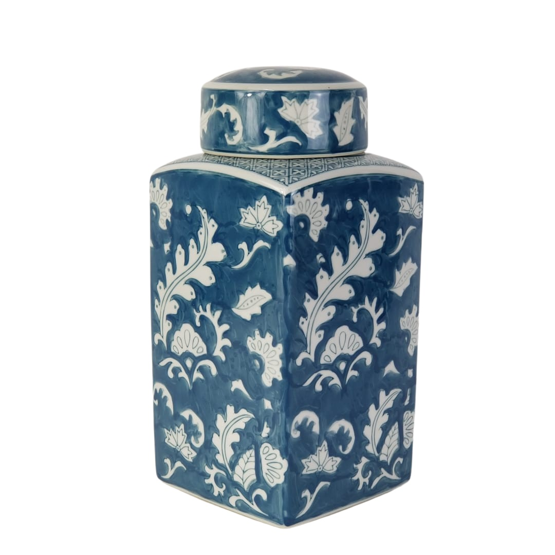 Potiche Quadrado de Cerâmica Pintada à Mão Cor Azul Turquesa