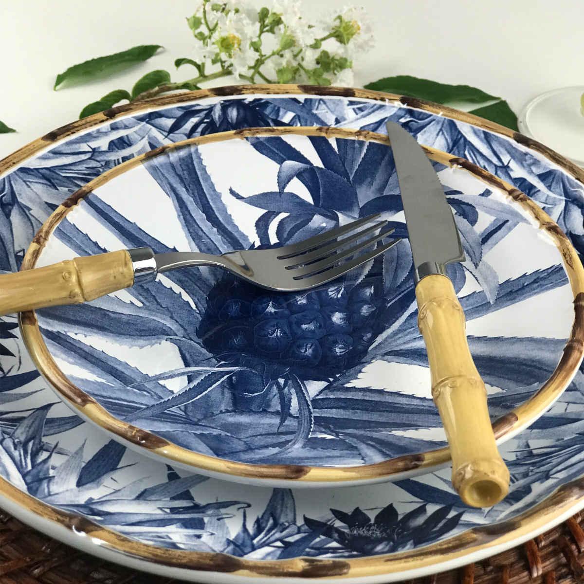 Pratos Rasos com Estampa de Abacaxi e Borda Bambu (6 Peças)