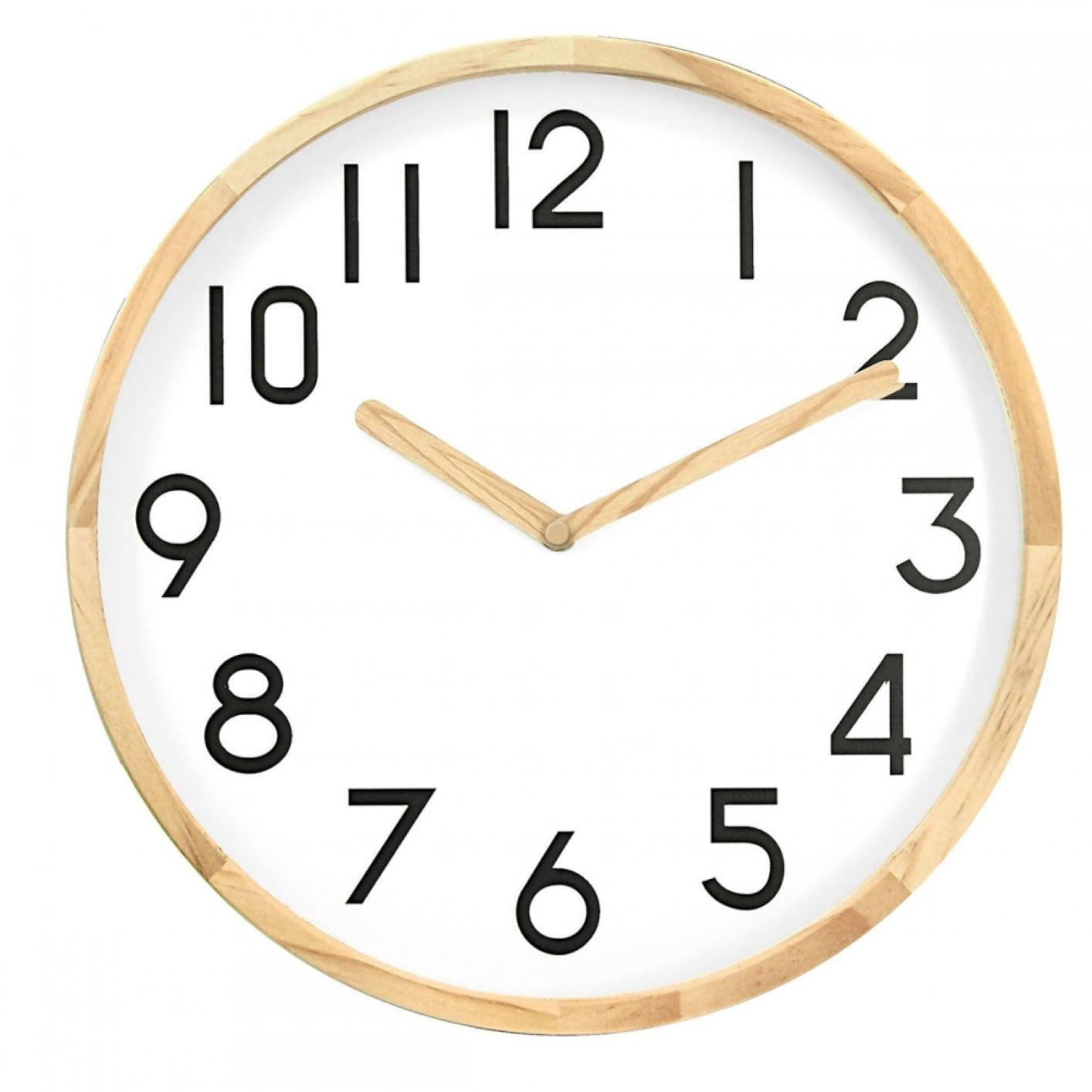 Relógio de Parede de Madeira Fundo Branco 30cm - Decorativo