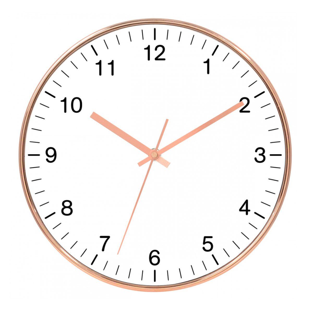 Relógio de Parede Decorativo - Rose Gold e Branco