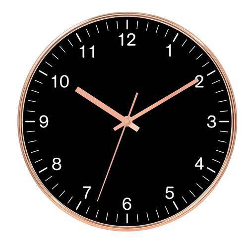 Relógio de Parede Decorativo - Rose Gold e Preto