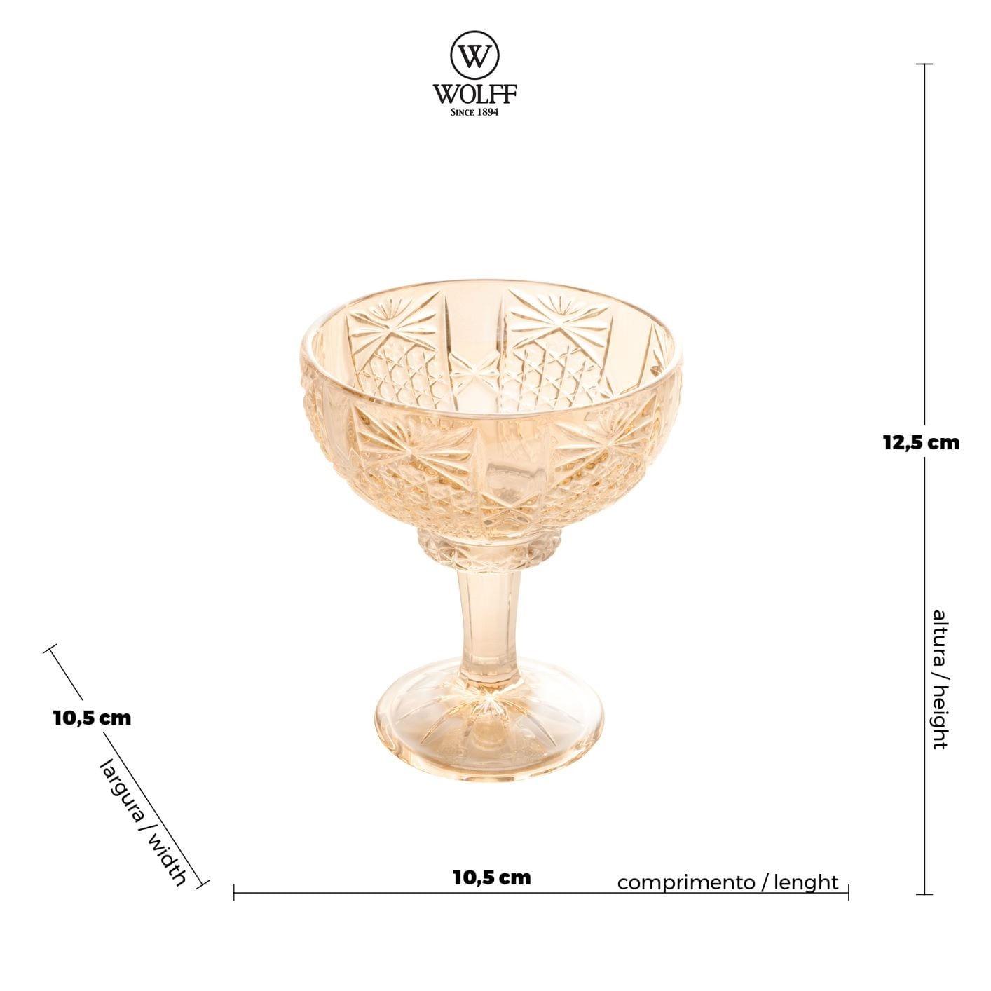 Taça de Sorvete de Cristal Wolff Princess Âmbar (6 Peças)